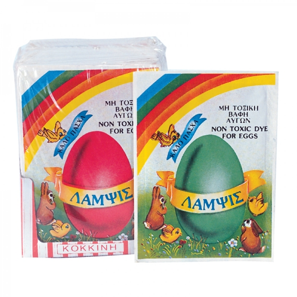 EGG DYE, RED-BLUE-GREEN, GREEK