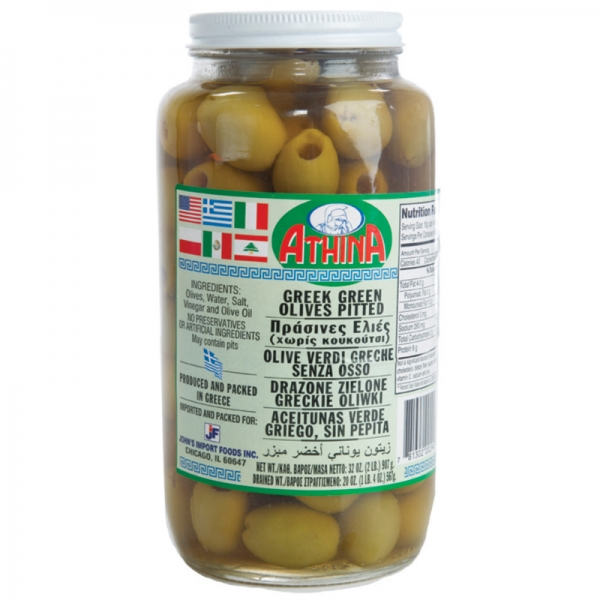 GREEK GREEN OLIVES PITTED, MAMMOTH