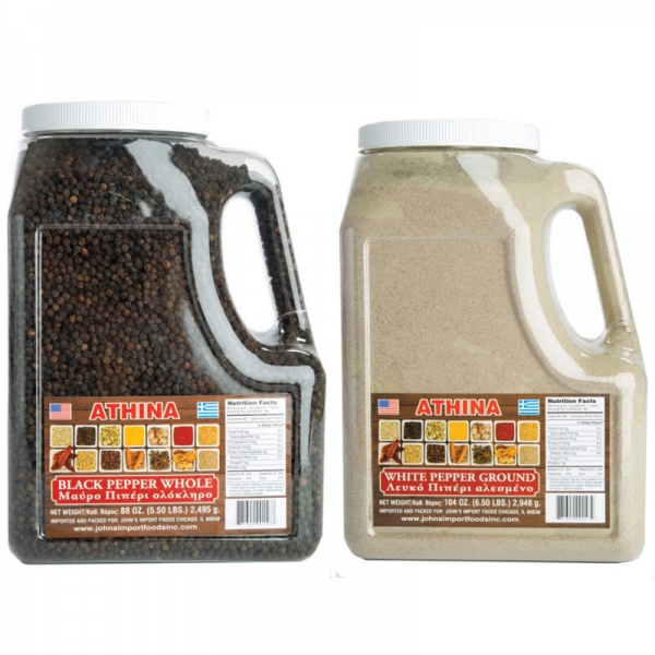 BLACK PEPPER WHOLE AND WHITE PEPPER GROUND