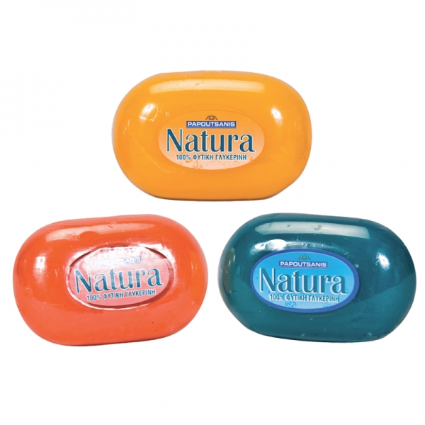 NATURAL GLYCERINE SOAP PAPOUTSANIS, FROM GREECE, RED-YELLOW-BLUE